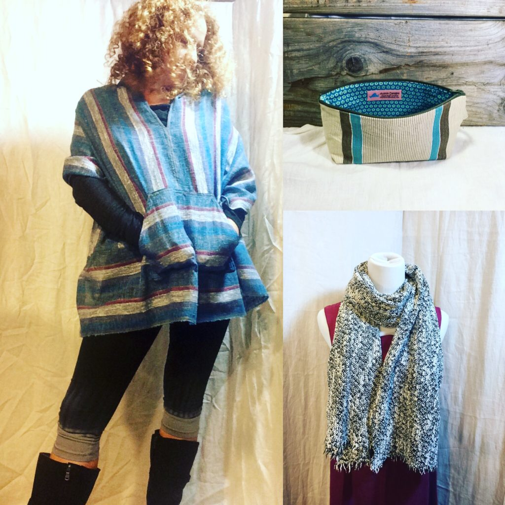 Baja Poncho with scarf and make up Pouch